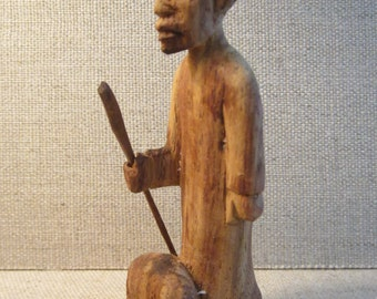 Small 2 Piece Carving of African Man with Walking Stick and Small Animal - Hand Carved Primitive Tribal Folk Art