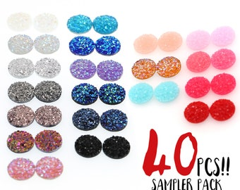 40PCS 12mm Faux Druzy Sampler, Faux Crystal Clusters Cabochons SMALL Nuggets FLAT Resin Gem Sampler