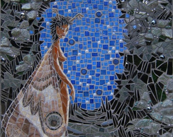 Moth Goddess - mosaic wall art