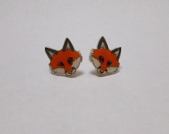 Red Fox Earrings Fox Ear Studs Woodland Animal Jewellery