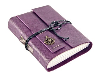 Purple Leather Journal with Lined Paper and Compass Charm // Travelers Journal // Planner // Leather Notebook // Ready To Ship