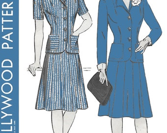 Hollywood 1169 Womens 40s Jacket & Skirt Suit Two Piece Dress Sewing Pattern Bust 34