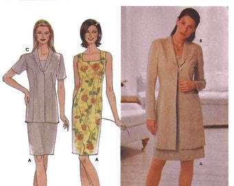 Simplicity 9123 Women's 2000s  Petite Fitted Sleeveless Back Zipper Dress and Long Fitted Jacket