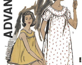 Advance 9616 Misses' 60s Shortie Pajamas and Nightgown Sewing Pattern Size 16 Bust 36