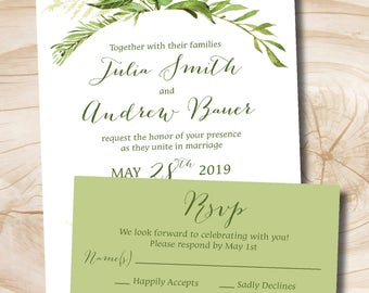 Watercolor Greenery Foilage Wedding Invitation Response Card Invitation Suite, Foliage, Romantic, Olive Green and Soft Pink