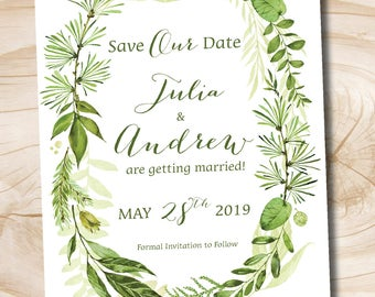 Watercolor Greenery Wreath Wedding Save the Date, Foliage, Floral, Romantic, Olive Green and Soft Pink, Coordinating Invitation and RSVP