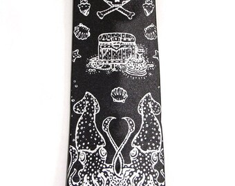 Pirate Squid Printed Tie Men's Necktie Black Silver Octopus Ship Anchor Illustration Print Nautical Tattoo Steampunk