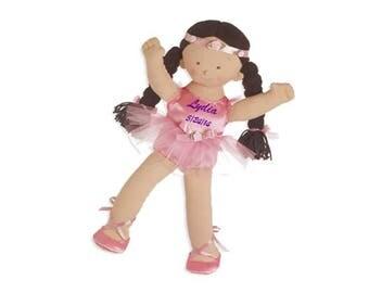 "Personalized 18"" Lydia Big Sister Ballerina - Brunette"