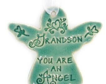 Grandson gift Grandson you are an angel religious Christmas ornaments holiday gift Grandson gift holiday angel angel ornaments