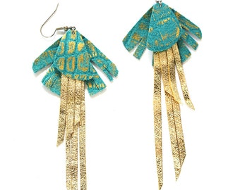 Crocodile Textured Gold and Turquoise Leather Earrings with Long Gold Fringe