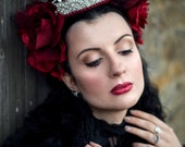 Red Rose 'Ingrid' Silver Crystal Crown Couture Headdress