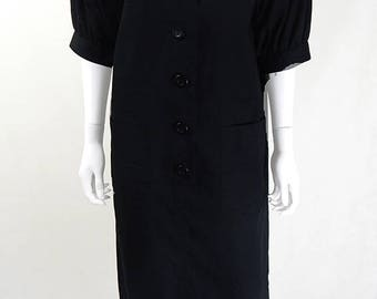 1980s Designer Vintage YSL Black Cotton Dress UK Size 12/14/16