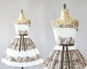 Vintage 50s Dress/ 1950s Cotton Dress/ Vicky Vaughn Brown Novelty Print Cotton Piqué Dress M