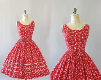 Vintage 50s Dress/ 1950s Cotton Dress/ Serbin Red and White Heart Print Cotton Dress w/ Matching Waist Belt L