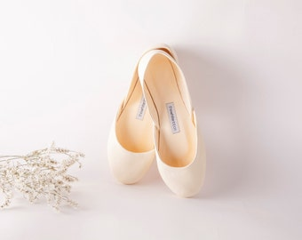 Ivory Bridal Ballet Flats | Flat Wedding Shoes | Low Heel Shoes for Bride | The Classic Bridal Flats in Vanilla Ivory