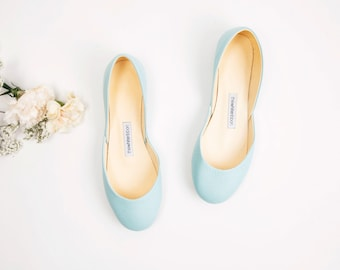 The Tiffany Green Leather Ballet Flats | Mint Green Pointe Style Shoes | Flat Leather Shoes | Tiffany Green | Made to Order
