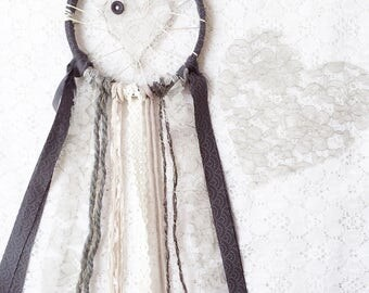 Grey Dreamcatcher With Hints of Gold, Shabby Chic Lace Love Catcher, Nursery Decor, Gray Baby Room Decor, Gender Neutral Baby Gift