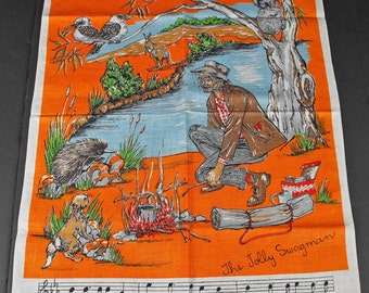 Vintage Australia Waltzing Matilda Jolly Swagman Linen Towel