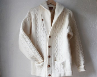 Vintage Merino Wool Shawl Collar Cardigan Sweater Jacket w/ Leather Buttons