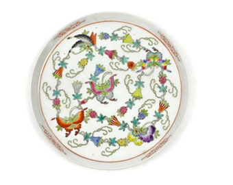 Chinese Tray - Tea Tray, Serving Tray, Dresser Tray, Vintage, Butterflies and Flowers, Multi-Colored Enameled Glaze, c.1950s