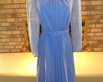 Vintage 70s Periwinkle Blue Polyester Dress Sheer Chiffon Sleeves