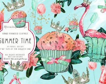 SUMMER TIME, Summer Clipart, Cupcake Clipart Fashion Illustration Flamingo Balloons Crown Pink Green Glitter Planner Supplies