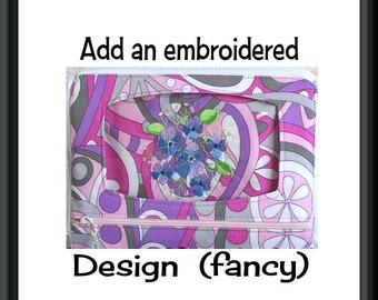 Add fancy embroidered design to your wristlet or wallet, wristlet, wallet, cell phone case, personalize, custom, customize, rose, lotus,
