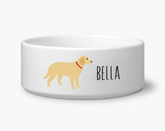 Personalize dog bowl, Golden Retriever dog food pet bowl with custom name, gifts for dog lovers