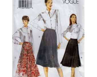 "Vogue Easy Skirt Sewing Pattern A Line Or Flared Size 14 Waist 28"" (71 cm) Vogue 9974 S"