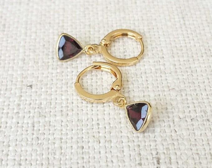 Garnet Earrings, Gold Garnet Earrings, Gold Garnet Triangle Earrings, Triangle Garnet Earrings, Garnet Gold Earrings, Citrine Triangles