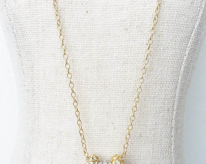 Crystal Necklace, Pave Crystal Necklace, Gold and Silver Pave Crystal Necklace, Gold Crystal Necklace, Silver Crystal Necklace, Pave Crystal