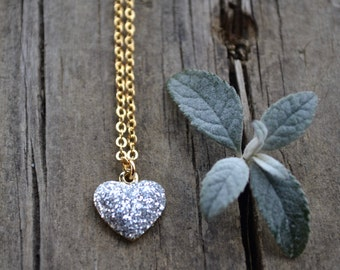 Gold and Glitter Heart . Necklace