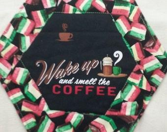 Wake up and smell the coffee mug rug