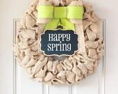 Spring burlap wreath ideas, Spring Door Wreath, Changeable Wreath for all Seasons, Happy Summer Sign for Front Door Decor - Interchangeable