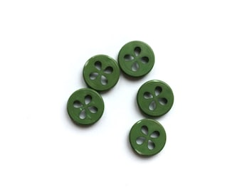 Flower Button, 5 Green Buttons, Vintage Button, Jungle, Tropical