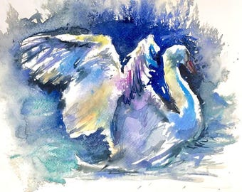 "Swan - 8"" x 10"" WATERCOLOR ORIGINAL PAINTING"