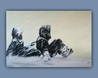 Oil Painting, TOBOGGAN or NOT TOBOGGAN, Original Oil Painting, kids, children, snow, winter, sledding, signed by the artist
