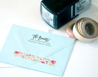 Self Inking or Wood Personalized Custom Return Address Custom Rubber Stamp - Script Handwriting ...