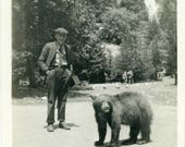 "Vernacular Photo ""Found a Friend at Yosemite Falls"" Black Bear Wildlife Picture Yosemite Falls California Road Trip Man Foto Snapshot - 16"