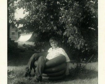 "Vintage Photo ""His Inner Tube Seat"" Snapshot Antique Photo Old Black & White Photograph Found Paper Ephemera Vernacular - 154"