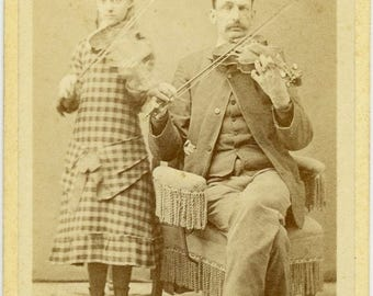 "RARE Antique CDV Photo ""The New York Violinists"" 1800s Carte de Visite Photograph Ephemera Collectible Visiting Card Cabinet Card - 138"