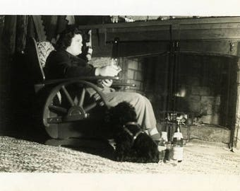 """Vintage Photo """"A Night with Pups"""" Living Room Dog Snapshot Antique Photo Old Black & White Photograph Found Paper Ephemera Vernacular - 53"""
