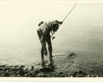 "Vernacular Photo ""Catching Dinner"" Snapshot Vintage Man Holding Fishing Pole Lake Fish Ocean Beach Water Sea Travel Fathers Day Gift - 164"