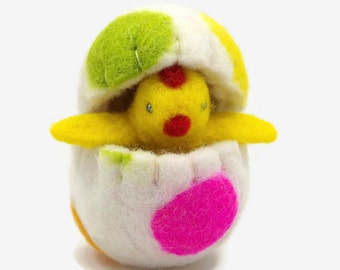 Easter Basket Gift - Chick in a Felt Egg - Waldorf Easter - Chick Toy - Easter Gift