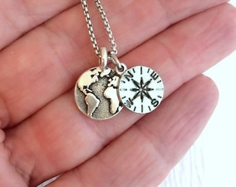 Compass and Earth Necklace, silver charm necklace, travel jewelry, globe neckace, girlfriend gift, dainty charm necklace, unisex necklace