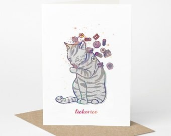 Tabby Cat Card - Lickorice (funny cat card, cute cat card, blank cat card, cat foodie card, summer cat card, liquorice allsorts sweets)