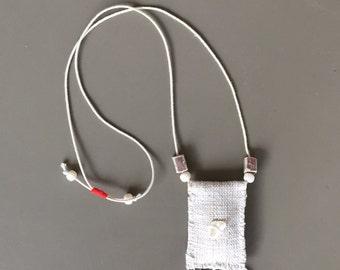boho kuchi fiber pendant necklace with lavender pouch - white boho kuchi coins fiber necklace - lavender pouch necklace - lavender amulet