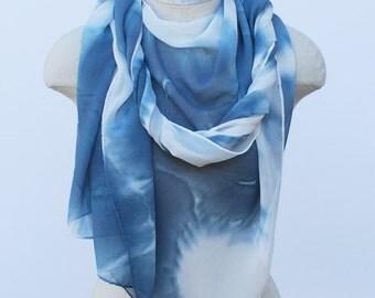 greyish blue chiffon ink blot scarf, oversized wrap