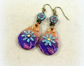 Lightweight Colorful Teardrop Earrings, Purple, Bronze and Blue Earrings, Clay Drops with Czech Flower Beads - Floral Teardrop Earrings