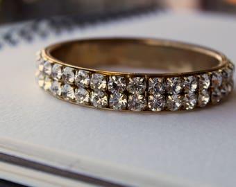 Vintage Brass Rhinestone Bangle Bracelet Bright Brilliant Rhinestones